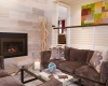 Facing Sofas, Gas Fireplace, Taupe Marble Fireplace, Cable Stair Railing