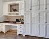 Cork Tiles, White Cabinets, Nickel Hardware